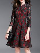 Shein Burgundy Color Block Embroidered Lace Dress