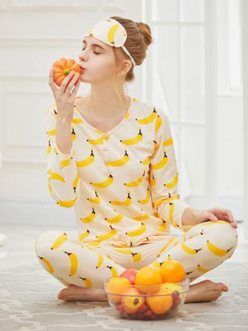 Shein Banana Print Button Front Long Pajama Set With Eye Mask