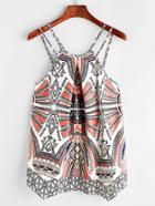 Shein Tribal Print Asymmetric Hem Cami Top