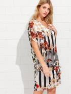 Shein Mixed Print Knot Side Asymmetric Dress