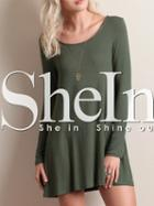 Shein Green Cut Out Back Tshirt Dress
