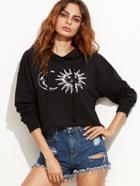 Shein Graphic Print Drop Shoulder Hooded Sweatshirt