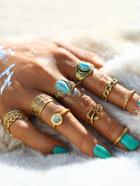 Shein Hollow Design Ring Set With Turquoise