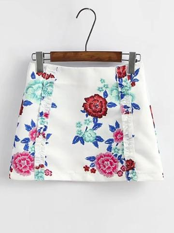 Shein Floral Print Zipper Back Skirt