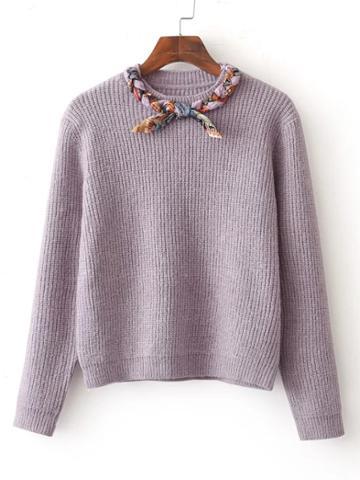 Shein Braided Detail Jumper Sweater
