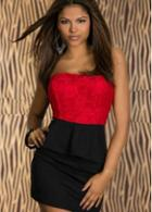 Rosewe Elegant Strapless Peplum Dress Red And Black Patchwork