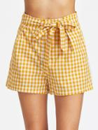 Shein Self Belt Wide Leg Gingham Shorts