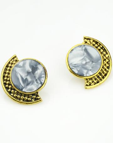 Shein Grey Gemstone Gold Stud Earrings