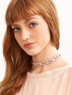 Shein White Floral Ribbon Choker Necklace