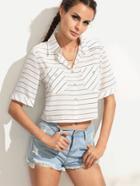 Shein White Striped Dual Pocket Chiffon Blouse