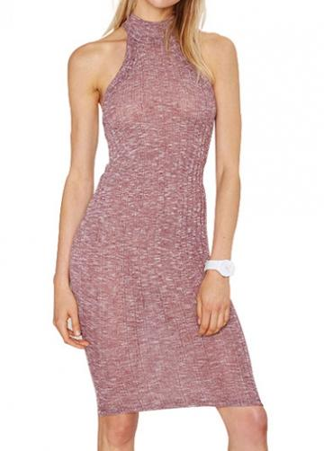 Rosewe High Neck Purple Knee Length Dress