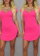 Rosewe Short Sleeve Hot Pink Asymmetric Dress