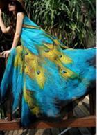 Rosewe Sleeveless Peacock Feather Print Maxi Dress