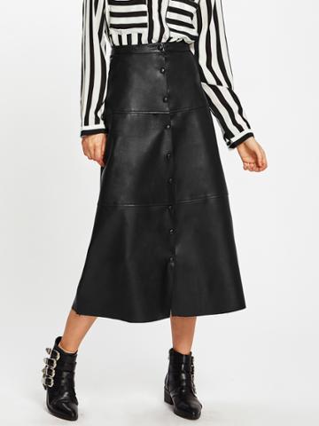 Shein Button Up Pu Midi Skirt