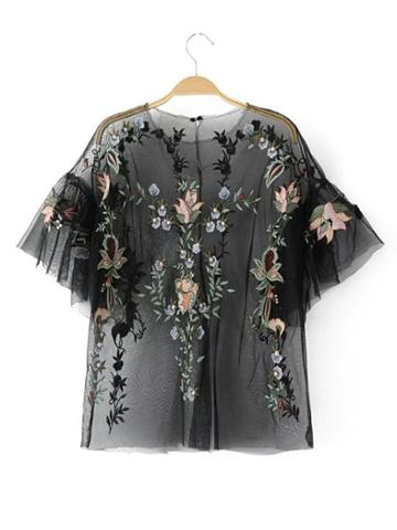 Shein Flower Embroidery Sheer Mesh Top