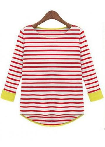 Rosewe Red And White Striped Three Quarter Sleeve Tees