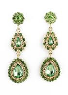 Shein Green Drop Gemstone Gold Flower Earrings
