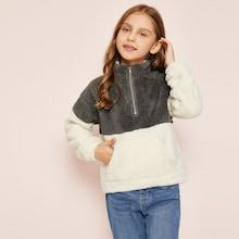 Shein Girls Color-block Teddy Jacket