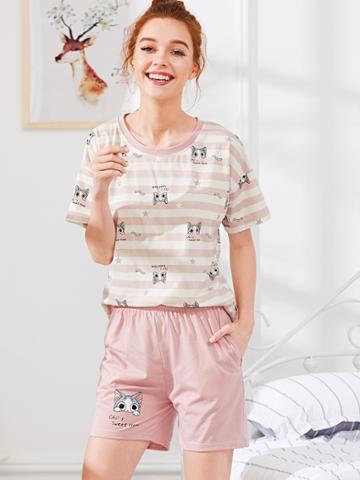 Shein Cat Print Striped Tee & Shorts Pj Set
