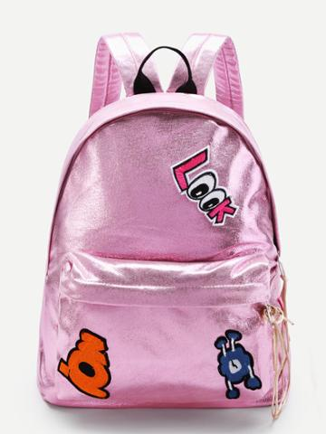 Shein Star And Letter Patch Decorated Pu Backpack