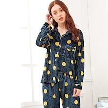 Shein Polka Dot Velvet Pajama Set With Eye Mask