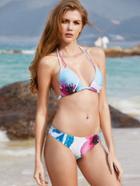Shein Flower Print Beach Bikini Set