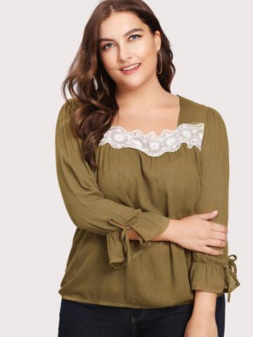 Shein Contrast Lace Puff Sleeve Blouse