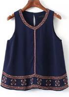 Shein Navy Sleeveless Embroidered Chiffon Tank Top
