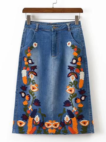 Shein Flower Embroidery Split Back Denim Skirt
