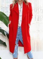 Rosewe Red Long Sleeve Long Woolen Coat