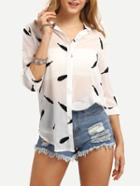 Shein Feather Print Sheer Chiffon Blouse