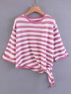 Shein Contrast Striped Knot Hem Knitwear