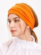 Shein Orange Wide Plain Yoga Headband