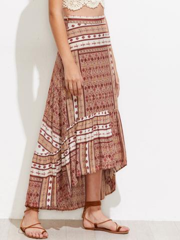 Shein Aztec Print High Low Frill Hem Skirt