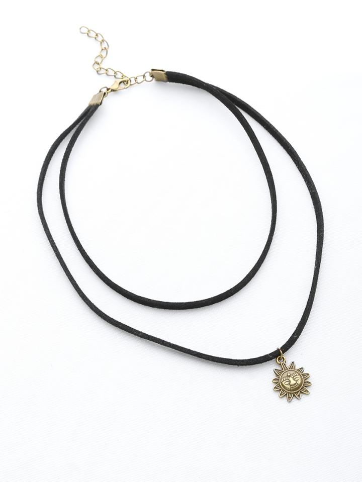 Shein Brass Sun Pendant Double Layer Necklace