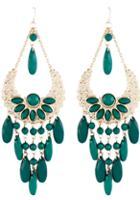 Shein Green Gemstone Tassel Gold Hollow Dangle Earrings