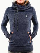 Shein Blue Hooded Long Sleeve Pockets Sweatshirt
