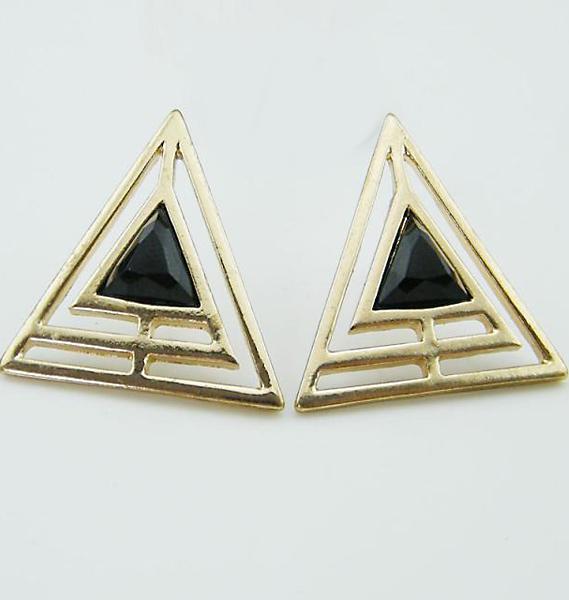 Shein Black Gemstone Gold Hollow Triangle Earrings
