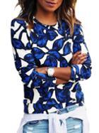 Shein Round Neck Leaves Print Sweatshirt