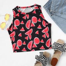 Shein Watermelon Print Cropped Shell Top