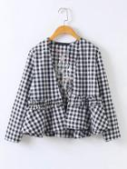 Shein Embroidery Back Checkered Frill Trim Open Front Top