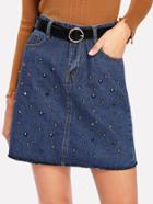 Shein Beaded Denim Skirt