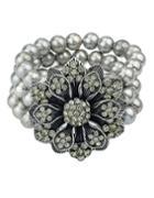 Shein Antique Style Silver Fake Pearl Women Adjustable Bracelet