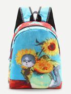 Shein Cartoon Print Canvas Backpack