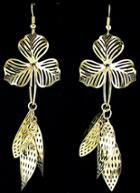 Shein Gold Hollow Leaves Dangle Earrings