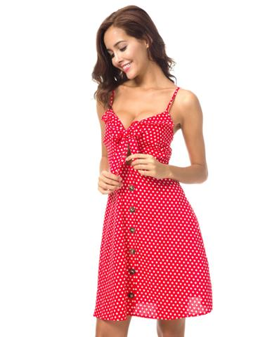 Shein Button Knot Front Polka Dot Cami Dress