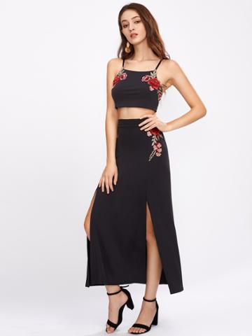 Shein Embroidered Appliques Tie Back Cami Top With M-slit Skirt