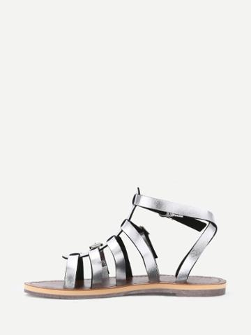 Shein Silver Caged Open Toe Gladiators Sandals