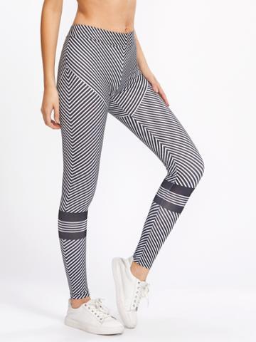 Shein Diagonal Stripe Leggings
