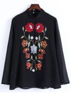 Shein Sheer Flower Embroidery Keyhole Back Blouse With Cami Top